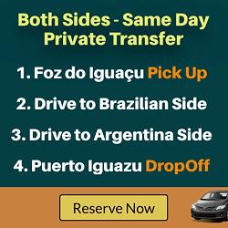 Pick-up Foz od Iguacu, then drop off Puerto Iguazu including airports