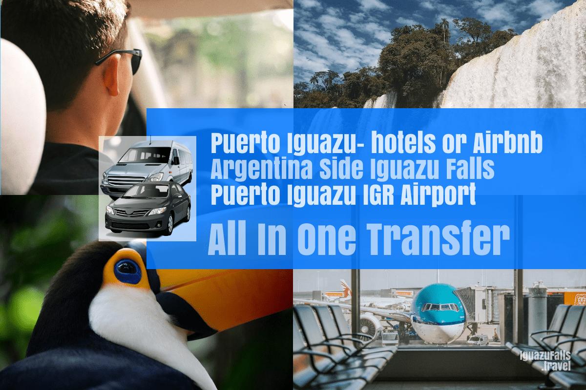 Puerto Iguazu city to the ARgentine side of Iguazu falls and IGR Airport