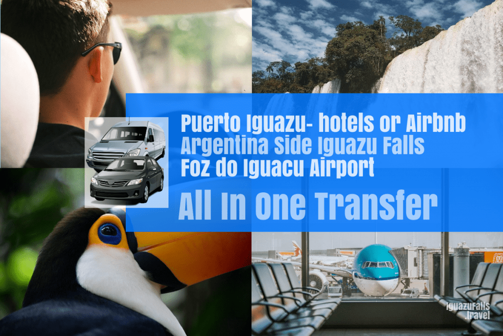 Puerto Iguazu city to the ARgentine side of the falls and the IGU airport