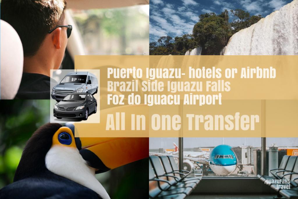 Puerto Iguazu city to the Brazil side Iguazu Falls and IGU airport