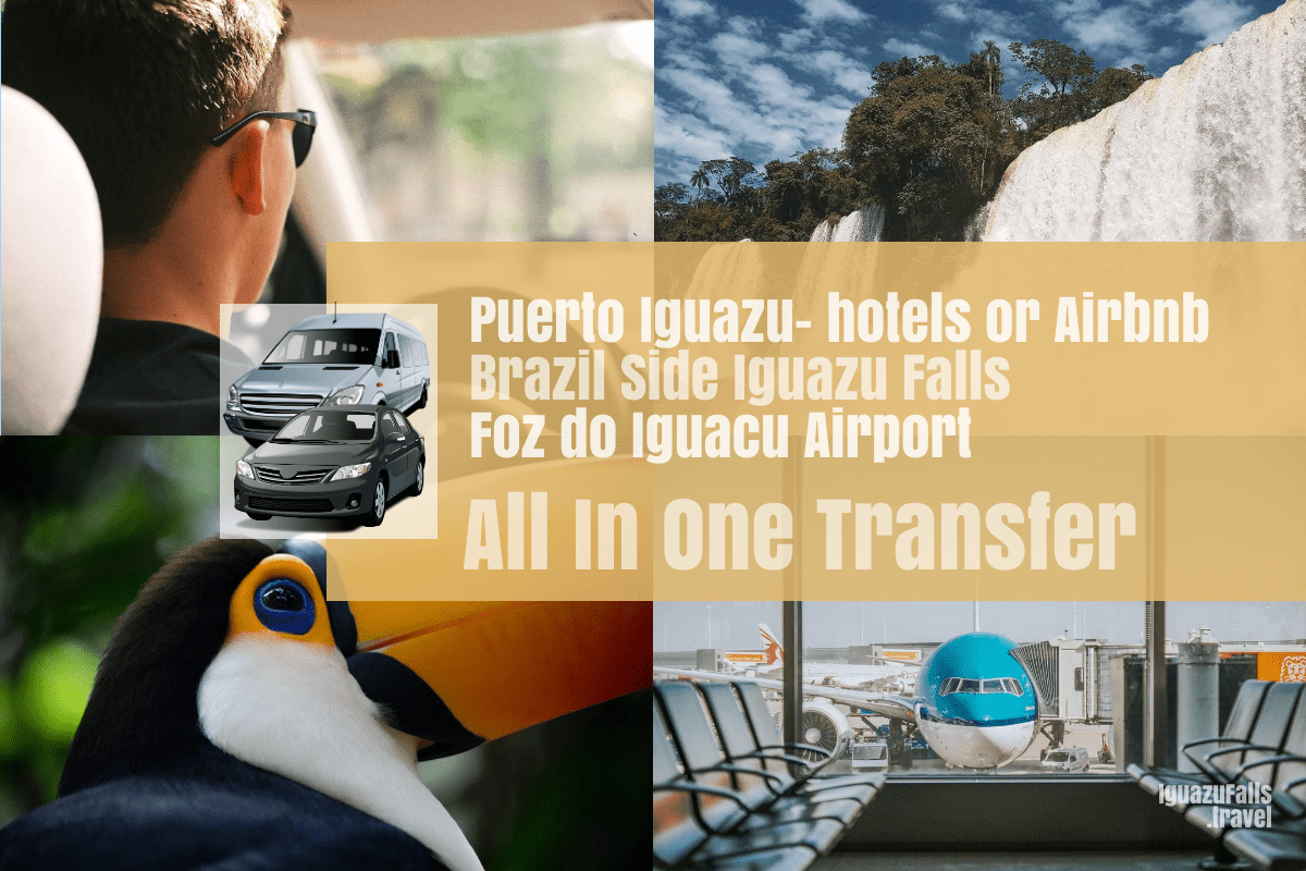 Puerto Iguazu city to the Brazil side Iguazu Falls and IGU airport