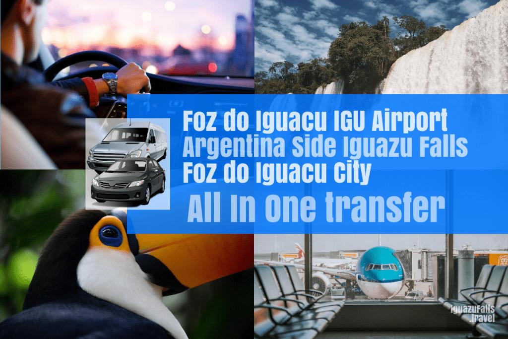 Foz do Iguacu airport to Argentina side of the falls then Foz do Iguacu
