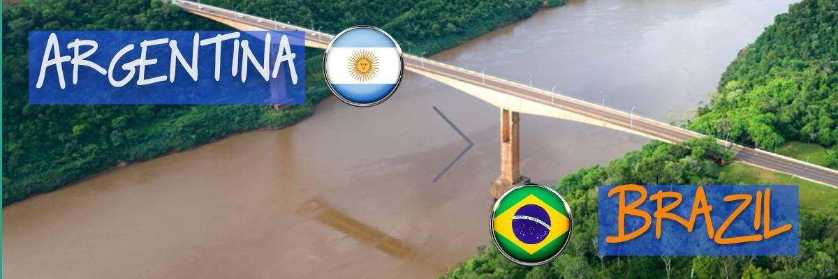 Crossing the border from Argentina to Brazil